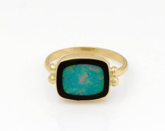 Opal and Onyx Inlay Ring in 14k Gold Green Blue and Red Australian Opal Ring Handmade Fine Jewelry Opal Ring