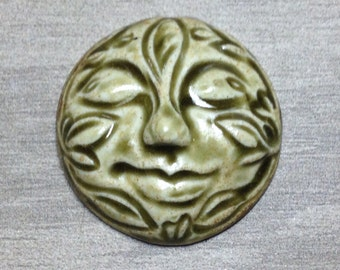 Large Leafy Face Ceramic Cabochon Stone in Earthy Green