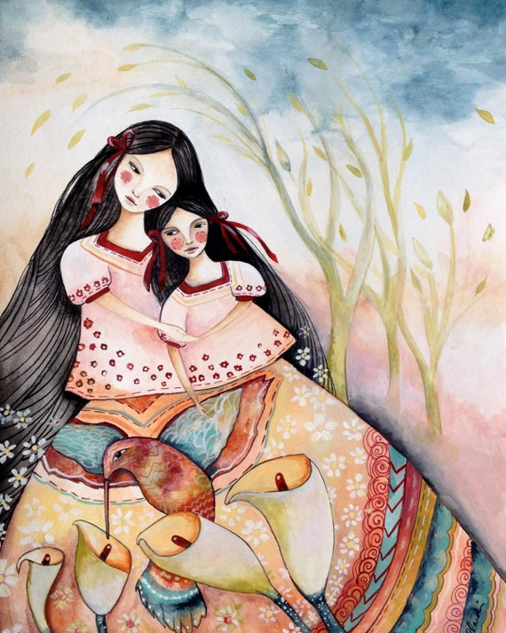 Special for 2 print s! Mayan folktales  mother and daughter and mother and baby
