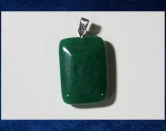 Aventurine, Green - Small 15x20mm flat rectangle pendant with natural gemstone. #GPEN-426