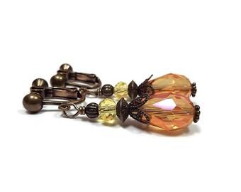 Clip on Earrings, Crystal Teardrop Earrings, Drop Earrings, Orange and Yellow, Summer Jewelry, Fancy Formal, Antiqued Brass,