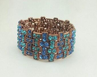 Copper Stretch Bracelet w/Periwinkle and Aqua Green Crystal Rhinestones