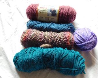 Acrylic yarn stash, yarn destash, lionbrand yarn