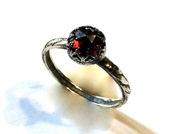 Red Garnet ring, Silver engagement ring for her, gemstone ring, thin engagement ring, stone ring, January birthstone - Simple Dream R2148-1