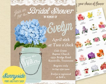 Burlap and Lace Mason Jar Invitation // bridal shower invite // country wedding // You choose flower! // printable or printed wedding shower