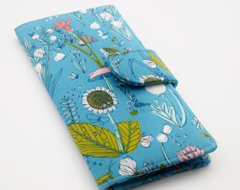 Vegan Wallet, Womens Clutch Wallet, Organic Fabric, Meadow