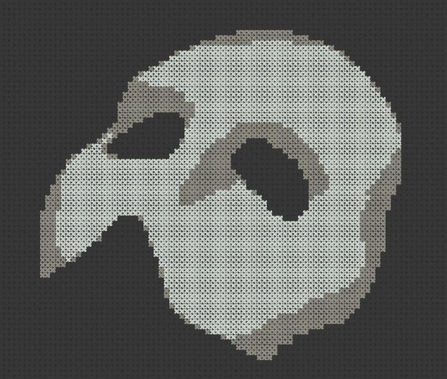 Phantom Of The Opera Mask Traditional Cross Stitch Pattern