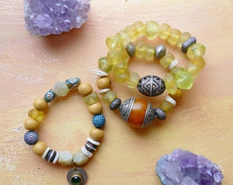 Padma set of three Java glass, Moroccan clay, yellow jade, Tibetan amber and pavé stacking bracelets