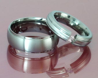 Titanium Couples Bands with Brilliant Luster Finish