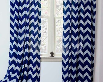 "Curtain Chevron SAMPLE SALE SINGLE indigo blue Zig Zag Panel Window Curtains, Hand Print- 44""w x 108""L - Block Printed with Natural dyes"