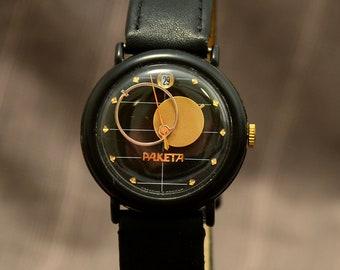 Mens vintage watch, Moon watch, elegant watch, wrist mens watch, soviet watch