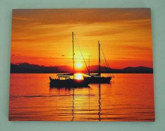 canvas, sailboat, Sailing, water feature, Sailboat photo canvas, water wall art, dorm room decor, ocean art gift, 16 x 20 inch wood canvas