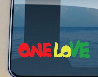 One Love Reggae Decal Hawaiian Rasta Sticker 647