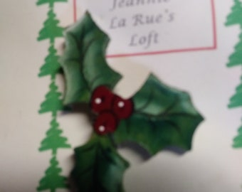 Holly and berries pin Christmas pin
