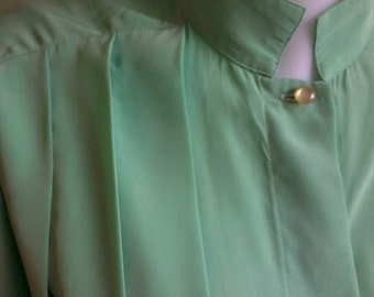green polyester blouse vintage