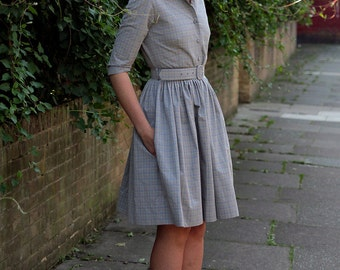 50s dress 1950s dress Shirt dress Plus size dress Grey dress Ladies dress Womens dresses Knee length dress Button up dress Belted dress