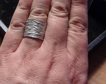 Wavy, Textured Sterling Silver Band Ring, Adjustable