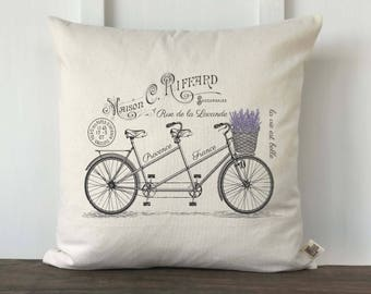 French Farmhouse, French Lavender Bicycle Pillow Cover, Custom Pillow Cover, Couch Pillow Cover, Decorative Pillow Cover, French Decor,