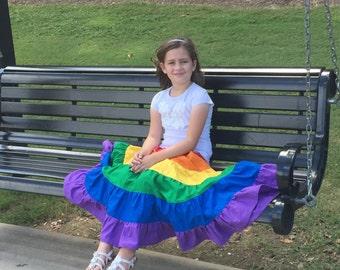 Girls Rainbow Skirt - Ruffle Rainbow Skirt - Long Rainbow Skirt - Long Ruffle Skirt - Girl Spring Outfit - Girls Boutique Skirt - Boho Skirt