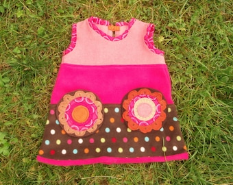 FLOWER DRESS 1-2yrs or Top 2yrs+ Fleece Winter Pinafore Fairy Psy Festival Kids Baby