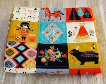 Organic Baby Girl Quilt Wholecloth Quilt Woodland Forest Rustic Modern Crib Bedding Toddler