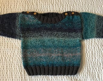 Hand knit Toddler Boys Blue and Gray Sweater with Shoulder Buttons