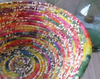 Coiled Basket - Multicolored Batik LARGE - Organizer, Storage, Handmade by Me, Colorful