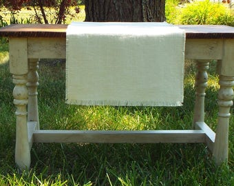 Country Linen Natural Table Runner, Natural Color Linen Table Scarf