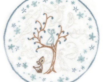 DIY Ghost Birds Embroidery Pattern PDF download hand deer tree bird embroidery patterns designs