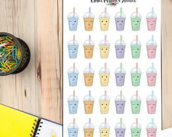 Kawaii Bubble Tea Planner Stickers | Bubble Tea Stickers | Kawaii Stickers | Drinks Stickers | Tea Stickers | Cute Bubble Tea (S-075)