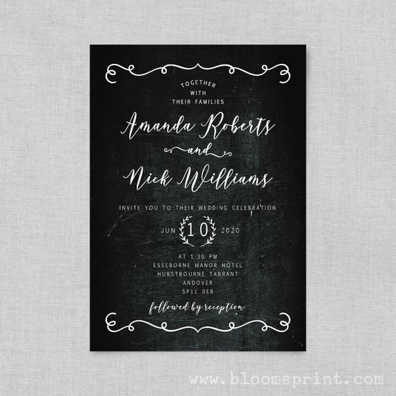 Rustic wedding invitation, Wedding invites, Black and white wedding invitations, Chalkboard wedding invites, Wedding invitation template, A5