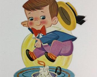Jack Jump Over the Candlestick Vintage 1950 Dennison Die Cut Cardboard Decoration