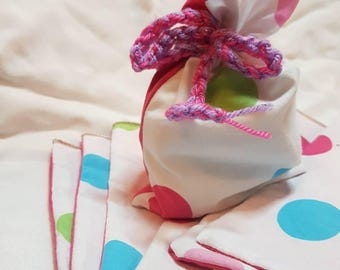 Party bags favour bags set of 8 spots and pink. Zero waste upcycled cotton bags birthday party bags