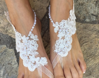 Ivory french Lace pearls Barefoot sandals. Bride bridesmaids barefoot sandals..beach wedding barefoot sandals..bridesmaid gift.. lace anklet