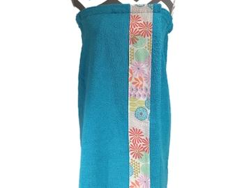 Julianne Aqua Towel Wrap, Personalization available