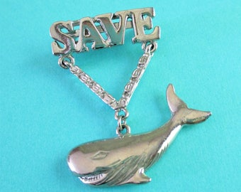 Vintage Save the Whale Pin
