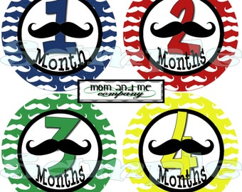 Baby monthly stickers Baby Shower gift 1- 12 Mustache Month stickers Baby boy Milestone stickers infant month Stickers Little Man stickers