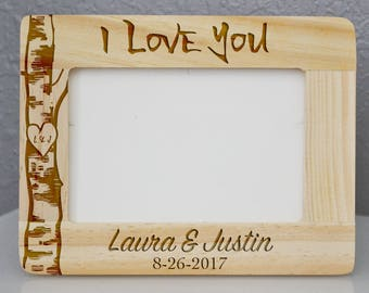 Custom Engraved I love you Wooden Frame 4 x 6, Wedding Frame * Christmas Gift * Valentines Frame * Personalized Frame * She Said Yes
