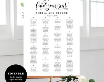 7 Sizes Wedding Seating Chart Template, Editable Wedding Table Seating Chart Poster Sign - PDF Instant Download - Rustic Elegance #REC