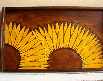 made to order wooden tray pyrography serving tray wood burned serving tray rustic tray sunflowers folk tray