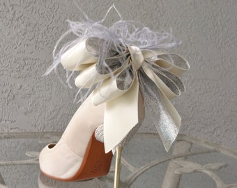 Bridal Party Wedding Sparkly Silver And Ivory Satin Ribbon Bow And Feather Shoe Clips Set Of Two