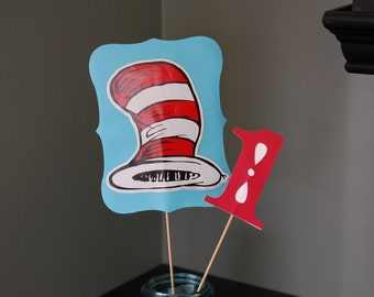 Dr. Seuss Centerpieces, One I am Birthday, 1st Birthday, Cat In the Hat,  8 Pcs