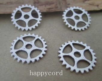 50pcs of  Antique silver gear pendant  charm 15mm