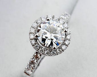 0.5 carat(5mm) Forever One Moissanite Engagement ring in Halo Style with natural diamonds, Bridal Ring,Diamond Alternative engagement ring