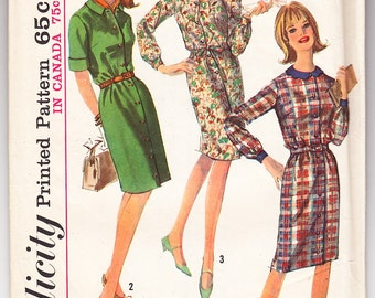 Vintage 1965 Simplicity 6079 UNCUT Sewing Pattern Misses' One-Piece Dress Size 12 Bust 32