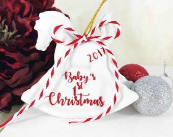 Babys First Christmas Ornament - First Christmas Baby Ornament - First Christmas Ornament - Christmas Ornament Baby Announcement - Ornament