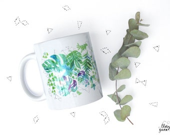Ceramic mug, Watercolor monstera, Green plant, Gift for tea lover, Coffe lover, Ceramic coffee mug, Garden lover gift, Arty, Gift for friend