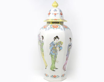 Hand-Painted Hexagonal Ginger Jar with Asian Ladies and Flowers
