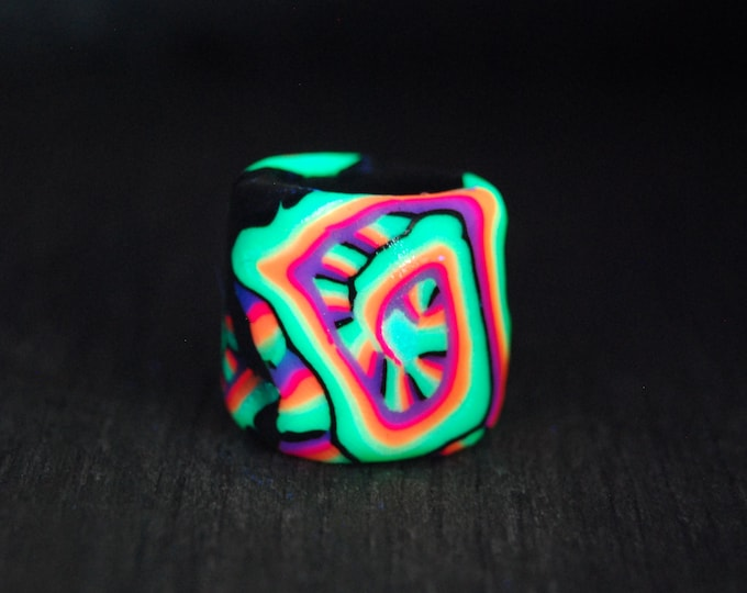 Colorful Dread Bead for Large Dreads UV active Big hole 14 mm