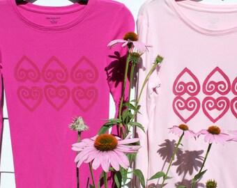 Pink Adinkra Print T-shirt, Asase ye duru